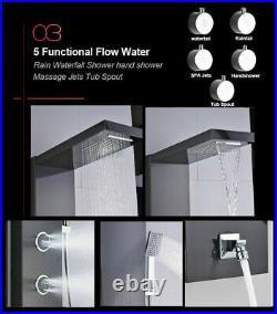 Black Stainless Steel Shower Panel Tower Rain Waterfall Massage Jet Body System