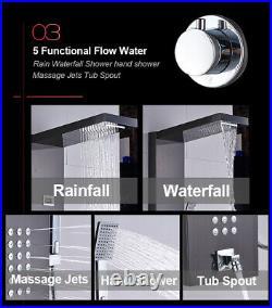 Black Thermostatic Shower Panel Column Tower Rainfall Waterfall Massage Body Jet