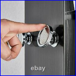 Black Thermostatic Shower Panel Column Tower with Body Jets Stainless Steel Mixer