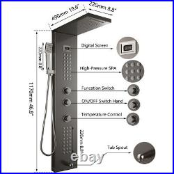 Black Wall Mount Digital Display Rain Shower Panel Tower System Hand Shower Tap
