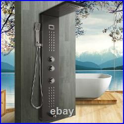 Black Waterfall Rain Shower Column Massage Jets Sprayer Shower Panel Hand Shower