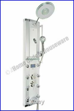 Blue 52 Aluminum SPA33D Shower Panel Tower with Rainfall Shower Head, 8 Mist