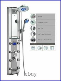 Blue Ocean 52 Aluminum SPA33D Shower Panel Tower with Rainfall Shower Head 8