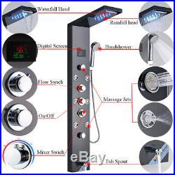 Brushed Black Shower Panel Tower LED Rain Waterfall Massage System Sprayer