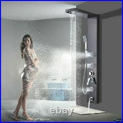 Brushed Black Shower Panel Tower Rain Shower Body Massage System Jet Shower Set