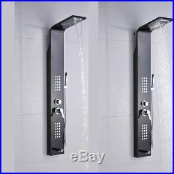 Brushed Black Shower Panel Tower Rainfall&Waterfall Massage Body System Jets