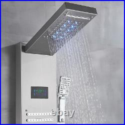 Brushed Nickel LED Rainfall Shower Panel Tower Faucet Massage System Body Jets