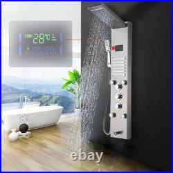 Brushed Nickel LED Rainfall Shower Panel Tower with Handheld Spray Massage Jets