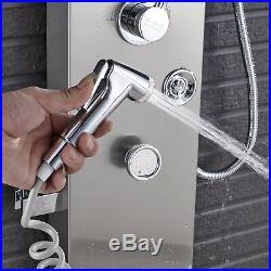 Brushed Nickel LED Shower Faucet Panel Shower Column Body Jet Shower Tower Steel