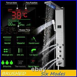 Brushed Nickel LED Shower Panel Column Massage Tower Body Jet Bathroom Mixer Tap