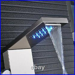Brushed Nickel LED Shower Panel Tower Rain&Waterfall Massage Body System Tap