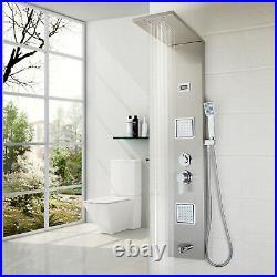 Brushed Nickel Shower Column With Massage Jets Brass Bathroom Rainfall Unit