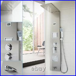 Brushed Nickel Shower Column With Massage Jets Solid Brass Bathroom Rainfall