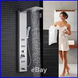 Brushed Nickel Shower Panel Set Hand Spray Tower Rain Waterfall Massage Jet Tap