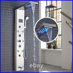 Brushed Nickel Shower Panel Tower LED Rain&Waterfall Massage Body System Jets
