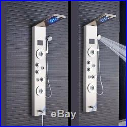 Brushed Nickel Shower Panel Tower LED Rain Waterfall Massage System Body Sprayer