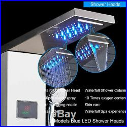 Brushed Nickel Shower Panel Tower LED Rain Waterfall WithMassage Body System Spray