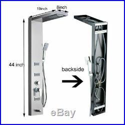 Brushed Nickel Shower Panel Tower Rain Waterfall Massage Body System Jet Sprayer