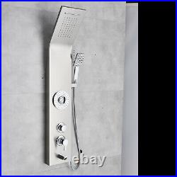 Brushed Nickel Shower Panel Tower Rainfall&Waterfall Massage Body System Jets