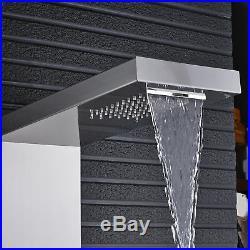Brushed Nickel Shower Panel Tower Rainfall Waterfall Massage System Body Jet