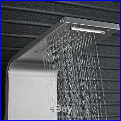 Brushed Nickel Shower Panel Tower Rainfall&Waterfall Massage System With Body Jets