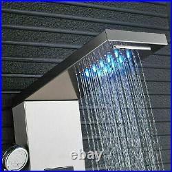 Brushed Nickel Shower Panel Tower System LED Rainfall Waterfall Shower Body Jets