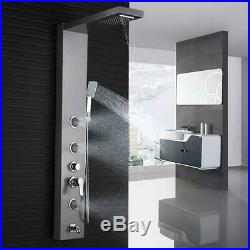 Brushed Nickel Shower Panel Tower System Rainfall Shower Head Multi-function