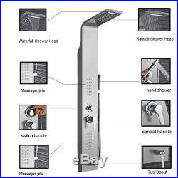 Brushed Nickel Shower Panel Tower Waterfall&Rain Massage System Body Jets Tap