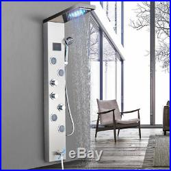 Brushed Nickel Wall Mounted Shower Panel Tower Column Massage Jets Tub Faucet