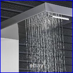 Brushed Nickel Waterfall Shower Panel Column Massage Jets Hand Shower Mixer Tap