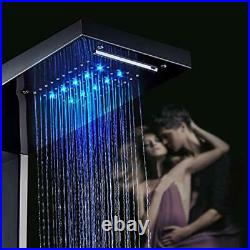 Contemporary Shower Panel Tower System Stainless Steel 6-Function Black-A