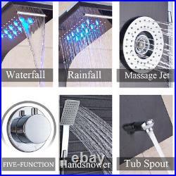 ELLOALLO LED Rain Waterfall Stainless Steel Shower Panel Tower Massage System
