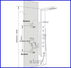 ELLO&ALLO Black Stainless Steel Shower Panel LED Tower Rain Massage System Jets