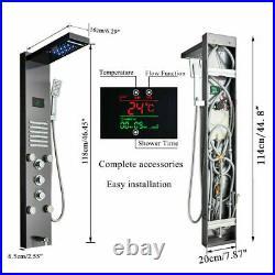 ELLO&ALLO Brushed Nickel LED Shower Panel Rain&Waterfall Tower Massage System