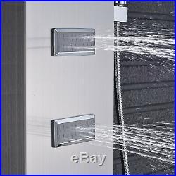 ELLO&ALLO Brushed Nickel Rain Waterfall Shower Panel Tower Rain Massage Jet