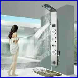 ELLO&ALLO Brushed Nickel Shower Panel Rain&Waterfall Tower Massage Jets WithSpray