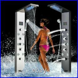 ELLO&ALLO LED Rain Shower Panel Tower Stainless Steel Faucet Massage Body Jets
