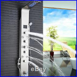 ELLO&ALLO LED Rain&Waterfall Brushed Nickel Shower Panel Tower System Tub Mixer1
