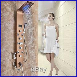 ELLO&ALLO LED Shower Panel Tower Rainfall Waterfall Massage Body System Jets