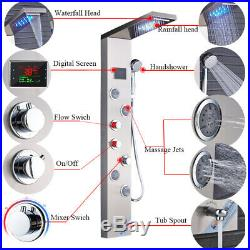 ELLO&ALLO LED Shower Panel Tower Rainfall Waterfall Shower Faucet System Fixture