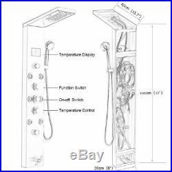 ELLO&ALLO LED Shower Panel Tower System Rain Waterfall Massage Body Jet Black