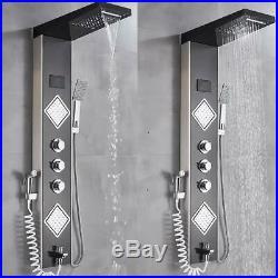 ELLO&ALLO LED Shower Panel Tower System Rainfall Shower Faucet Fixtures Bathroom