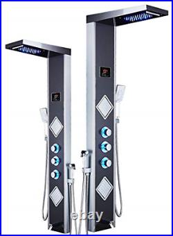 ELLO&ALLO LED Shower Panel Tower System, Rainfall Waterfall Shower Faucet Rain