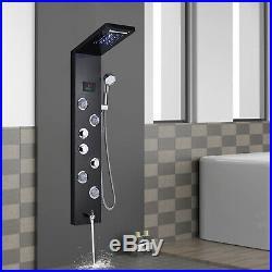ELLO&ALLO LED Stainless Steel Shower Panel Tower Rainfall Waterfall Sprayer Body