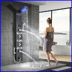 ELLO&ALLO Oil Rubbed Bronze LED Shower Panel Rain&Waterfall Tower Massage System