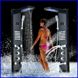 ELLO&ALLO Shower Panel Black LED Tower System Rainfall Waterfall Massage Jet Tap