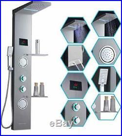ELLO&ALLO Shower Panel System Tower with Shelf, LED Rainfall and Mist Head Rain