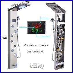 ELLO&ALLO Shower Panel Tower LED Rain Waterfall Massage Body System Jets