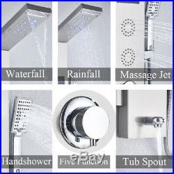 ELLO&ALLO Shower Panel Tower LED Rain&Waterfall Massage Body System Sprayer Tap