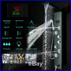 ELLO&ALLO Shower Panel Tower LED Rainfall Shower Faucet System Bahtroom Fixtures